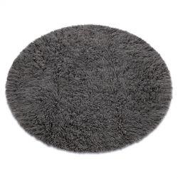 Flokati WOOLEN redondo cinzento