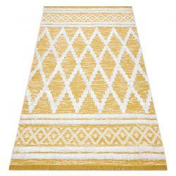 Tapete ECO SIZAL BOHO MOROC Diamantes 22297 franjas - dois níveis de lã cinza amarelo / creme, tapete reciclado