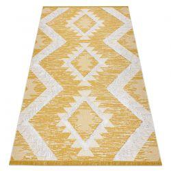 Carpet ECO SISAL Boho MOROC Diamonds 22312 fringe - two levels of fleece yellow / cream, recycled carpet