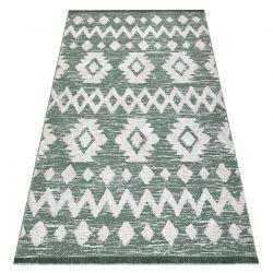 Tapis ECO SIZAL BOHO MOROC Etno Zigzag 22319 franges - deux niveaux de molleton vert / crème, tapis en coton recyclé
