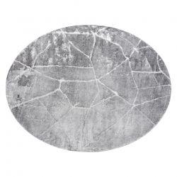 модерен MEFE килим кръг 2783 мрамор - structural две нива на руно тъмно сив
