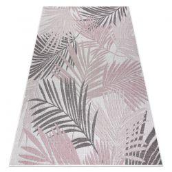 Carpet SISAL SION Palm leaves, tropical 2837 Flat woven ecru / pink