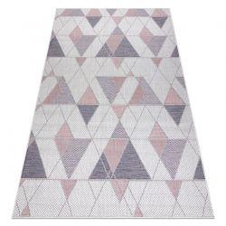 Carpet SISAL SION Geometric, Triangles 3006 Flat woven ecru / pink