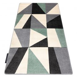 Teppich ALTER Fiori Geometrisch, Dreiecke, Quadrate grün