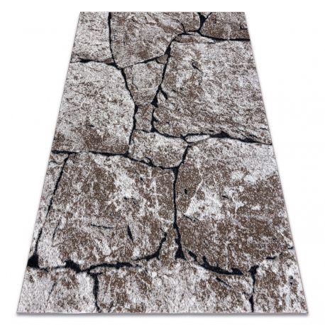 Dywan nowoczesny COZY 8985 Brick Kostka brukowa, kamień - Strukturalny, dwa poziomy runa brązowy