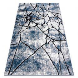 Modern carpet COZY 8873 Cracks, Cracked concrete - structural two levels of fleece blue