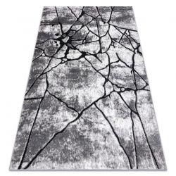 Modern carpet COZY 8873 Cracks, Cracked concrete - structural two levels of fleece dark grey