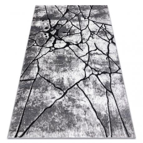 Dywan nowoczesny COZY 8873 Cracks Popękany beton - Strukturalny, dwa poziomy runa ciemny szary