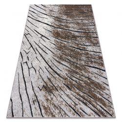 Tapete moderno COZY 8874 Timber, madeira - Structural dois níveis de lã castanho