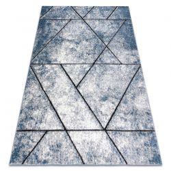 Tapete moderno COZY 8872 Wall, geométrico, triângulos - Structural dois níveis de lã azul