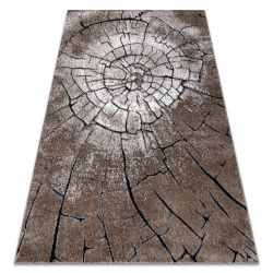 Modern carpet COZY 8875 Wood, tree trunk - structural two levels of fleece brown