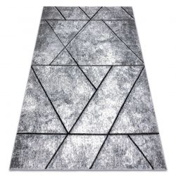 Modern carpet COZY 8872 Wall, geometric, triangles - structural two levels of fleece grey / blue