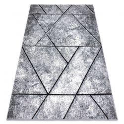 Tapete moderno COZY 8872 Wall, geométrico, triângulos - Structural dois níveis de lã cinzento / azul