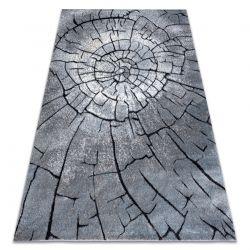 Tapete moderno COZY 8875 Wood, tronco de árvore - Structural dois níveis de lã cinzento / azul