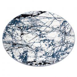 модерен килим COZY 8871 кръг, Marble, мрамор structural две нива на руно син
