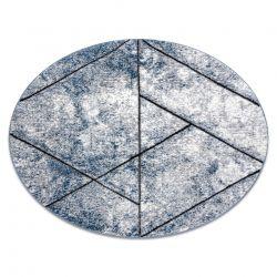 модерен килим COZY 8872 кръг Wall, геометричен, триъгълници structural две нива на руно син