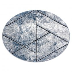 Moderní kulatý koberec COZY 8872 Wall, geometrický,trojúhelníky - Strukturální, dvě úrovně rouna, modrý