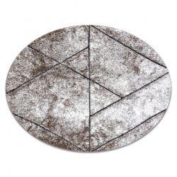 Moderní kulatý koberec COZY 8872 Wall, geometrický,trojúhelníky - Strukturální, dvě úrovně rouna, hnědý