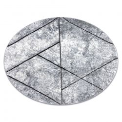 Modern carpet COZY 8872 Circle Wall, geometric, triangles - structural two levels of fleece, grey / blue