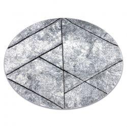 Moderní kulatý COZY 8872 Wall, geometrický,trojúhelníky - Strukturální, dvě úrovně rouna šedá / modrý