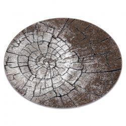 Moderní kulatý koberec COZY 8875, Wood, kmen stromu - Strukturální, dvě úrovně rouna, hnědý