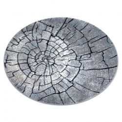 Modern carpet COZY 8875 Circle, Wood, tree trunk - structural two levels of fleece grey / blue