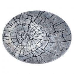 Moderní kulatý COZY 8875, Wood, kmen stromu - Strukturální, dvě úrovně rouna šedá / modrý