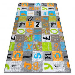 Fitted carpet for kids JUMPY Patchwork, Letters, Numbers grey / orange / blue