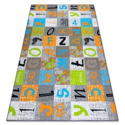 Tapete adaptado para crianças JUMPY Patchwork, Letras, Números cinzento / laranja / azul