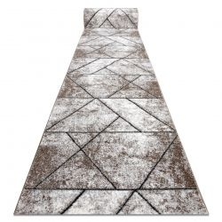 Modern runner COZY 8872 Wall, geometric, triangles - structural two levels of fleece brown
