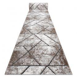 TAPIS DE COULOIR COZY 8872 Wall, géométrique, triangles - Structural deux niveaux de molleton marron