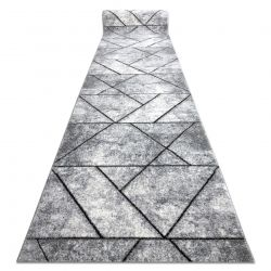 Modern runner COZY 8872 Wall, geometric, triangles - structural two levels of fleece grey / blue