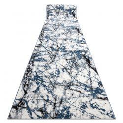 TAPIS DE COULOIR COZY 8871 Marble, Marbre - Structural deux niveaux de molleton bleu