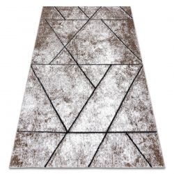 Modern carpet COZY 8872 Wall, geometric, triangles - structural two levels of fleece brown