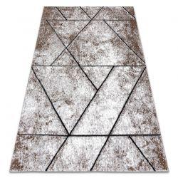 Tapete moderno COZY 8872 Wall, geométrico, triângulos - Structural dois níveis de lã castanho