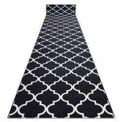 Alfombra de pasillo con refuerzo de goma Enrejado Trébol marroquí negro Trellis 30350