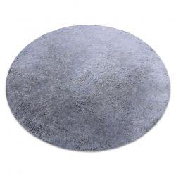 Tapis de lavage moderne LAPIN circle shaggy, antidérapant noir / ivoire