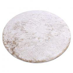 Современный стиральный ковер LAPIN круг shaggy против скольжения серого бежевый / слоновой кости
