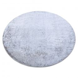 Tapete de lavagem moderno LAPIN círculo shaggy, antiderrapante cinzento / marfim