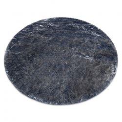 Tapis de lavage moderne LAPIN circle shaggy, antidérapant ivoire / noir