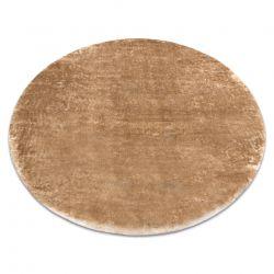 Dywan LAPIN Shaggy koło kość słoniowa / brązowy, antypoślizgowy, do prania