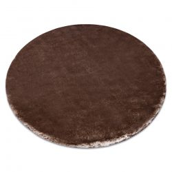 Tapete de lavagem moderno LAPIN círculo shaggy, marfim / chocolate
