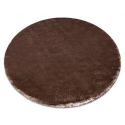 Tapis de lavage moderne LAPIN circle shaggy, antidérapant ivoire / Chocolat