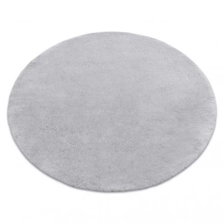 TEDDY tapete de lavagem moderno shaggy circulo, de pelúcia, muito espesso e antiderrapante cinzento