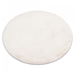 Tapis TEDDY cercle Shaggy beige très épais, en peluche, antidérapant, lavable