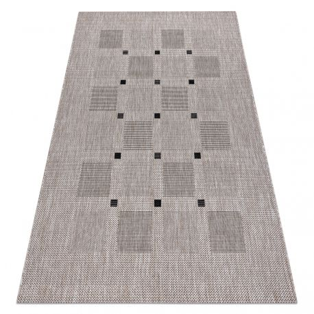 Sisal tapijt SISAL FLOORLUX 20079 BLOEMEN VIERKANTEN zilver / zwartkleuring
