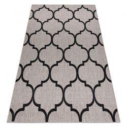 Ковер шнуровой SIZAL FLOORLUX 20608 Марокканская решетка серебро / черный