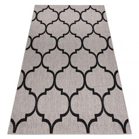 Килим шнуровий SIZAL FLOORLUX 20608 Марокканська решітка срібло / чорний
