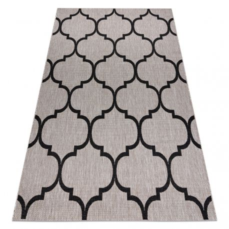 TEPPICH SIZAL FLOORLUX 20608 Marokkanisches Spalier, Trellis silber / schwarz