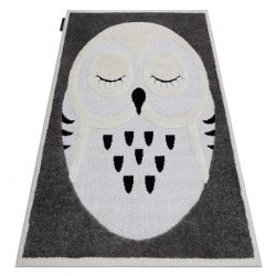 Dywan dziecięcy JOY Owl sowa, dla dzieci - Strukturalny, dwa poziomy runa szary / krem